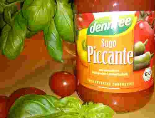 Bio Tomatensauce Sugo Piccante von dennree küchenfertig zubereitet (1)