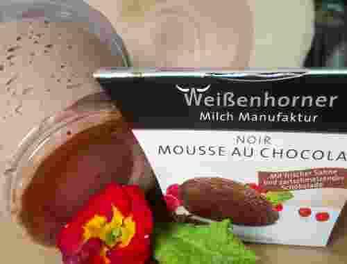 Mousse au Chocolat, noir aus der Weißenhorner Milch Manufaktur zartschmelzende Schokolade mit frischer Sahne